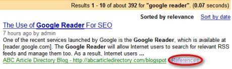 результаты поиска с ссылками