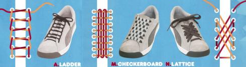 Способы завязки шнурков. Иллюстрации с сайта любителей кроссовок и шнурков - SneakerFreaker.com