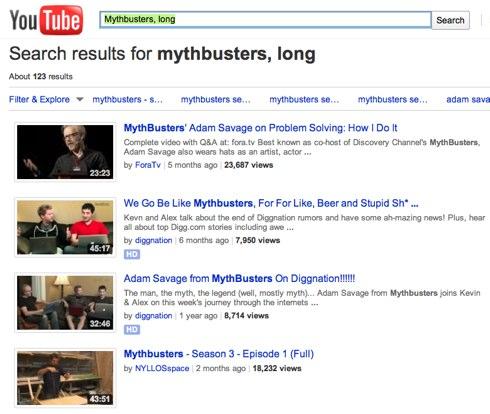 Mythbusters, long