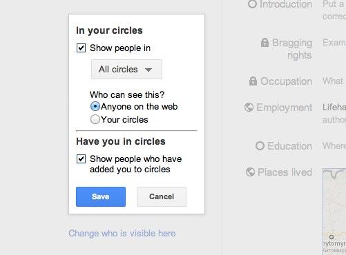 как контролировать видимость в кругах Google+