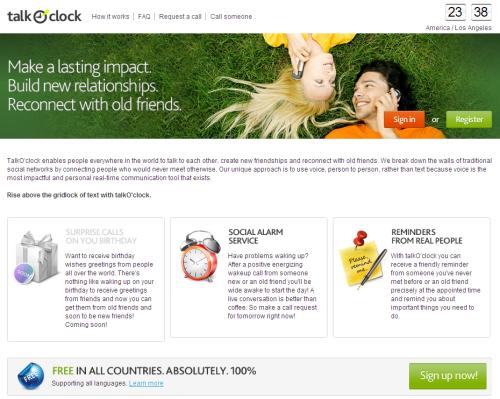 Главная страница сервиса talkocloc