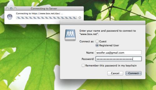 Как подключить 50Гб от box.net в виде сетевого диска в Windows/Mac
