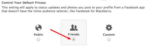 настройки приватности только для друзей, Facebook