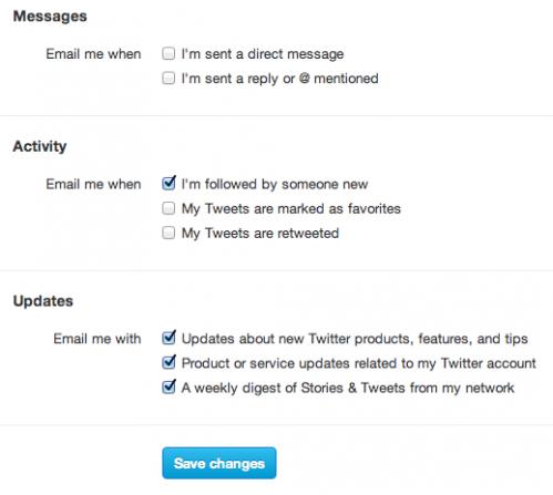 как отключить рассылку писем от твиттера