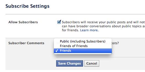 как ограничить комментирование в Facebook