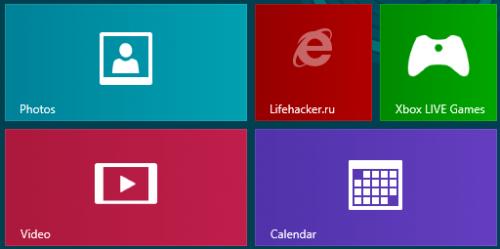 Метро, интерфейс Windows 8