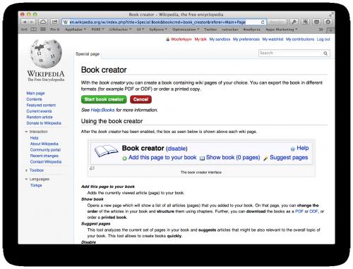 как сделать электронную книгу из статей Википедии