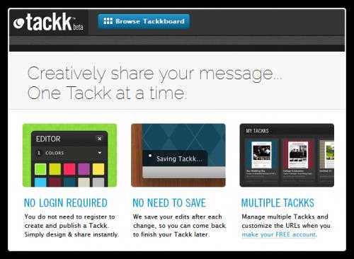 Tackk - сервис быстрой публикации в сети