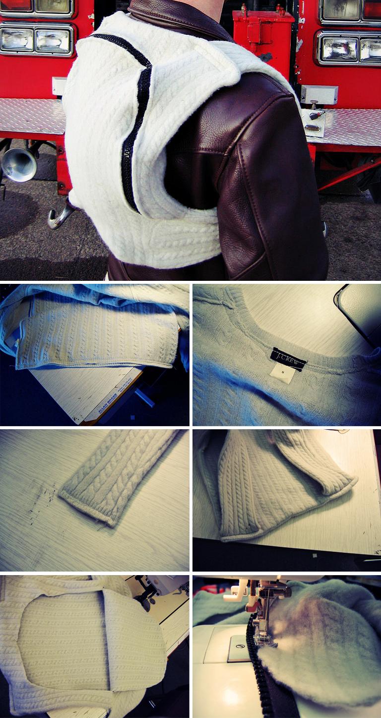 Как сделать из кофты в рюкзак