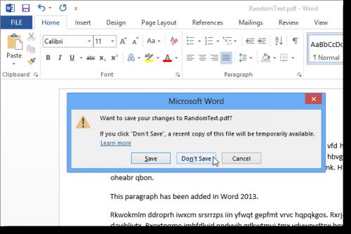 как сохранить изменения в pdf файле