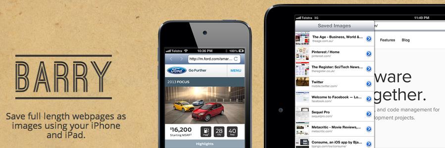 BARRY для iOS сохранит скриншот сайта в полную длину
