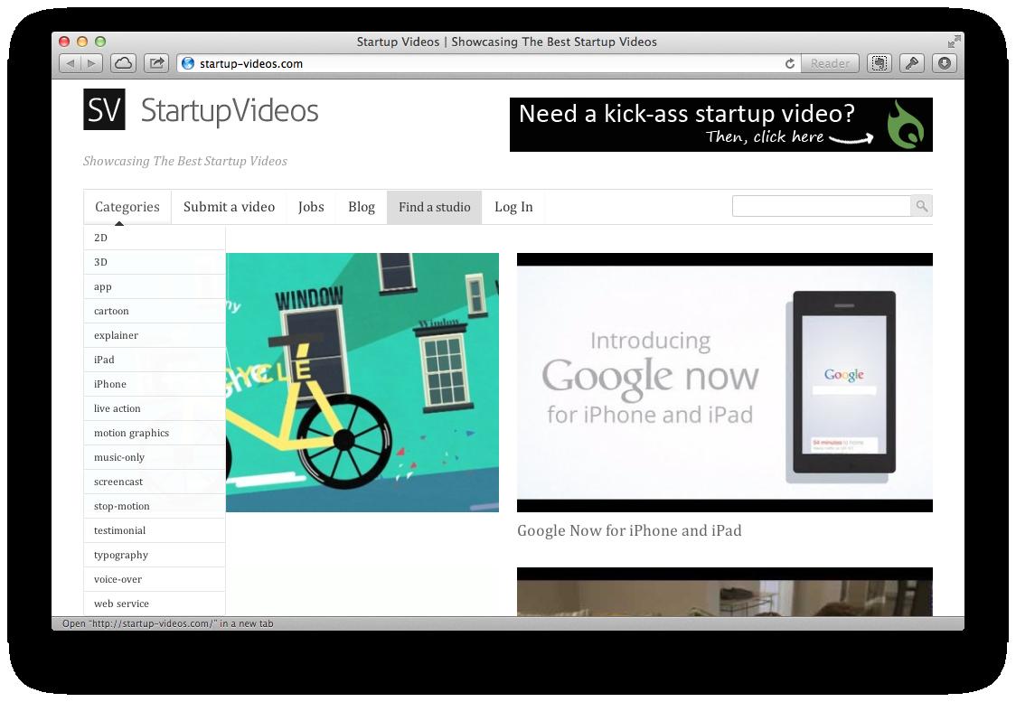 Лучшее место в интернете с примерами промо-видео для стартапов