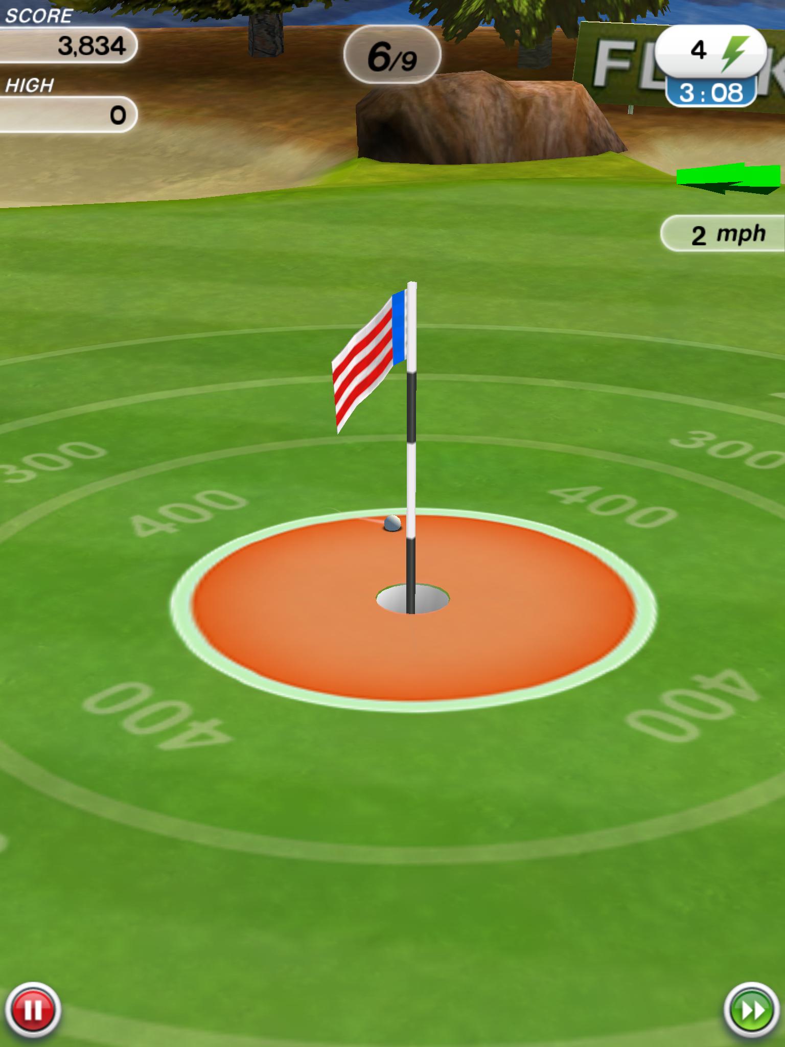 Flick Golf: точный бросок — мячик в лунке