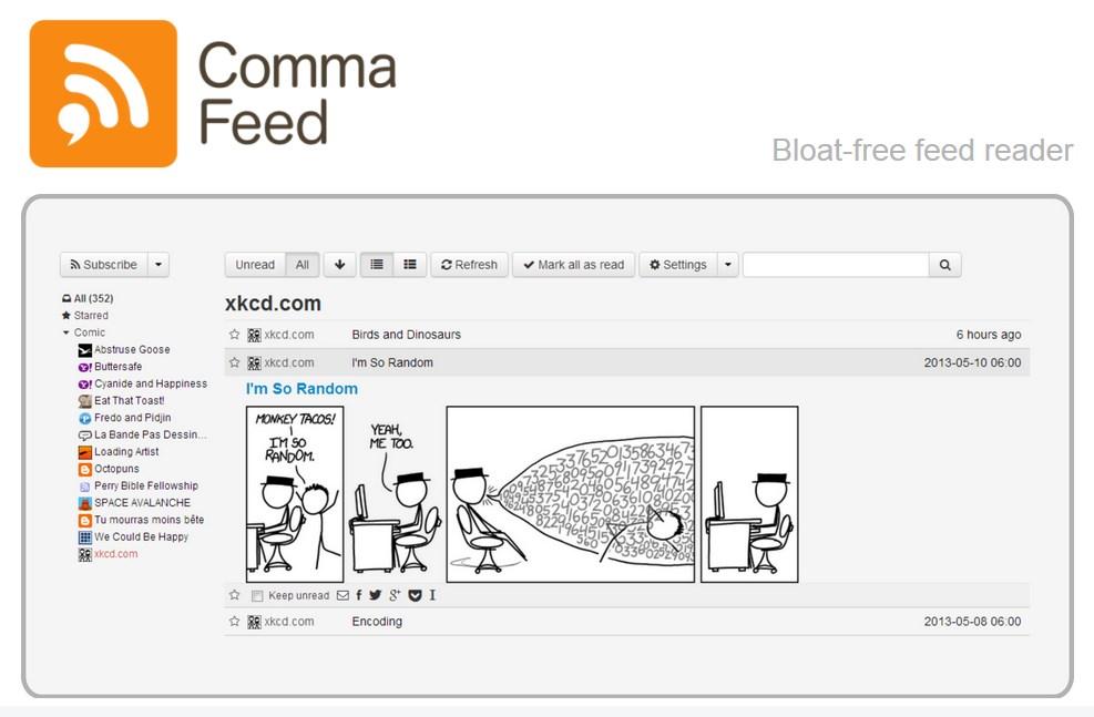 Кто нам заменит Google Reader? CommaFeed