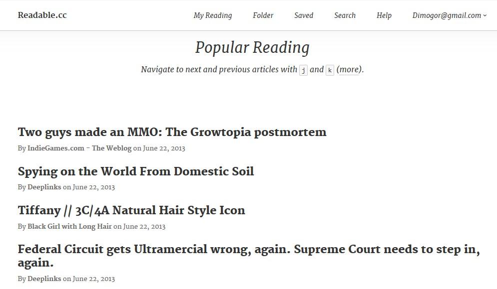 Кто нам заменит Google Reader? Readable.cc