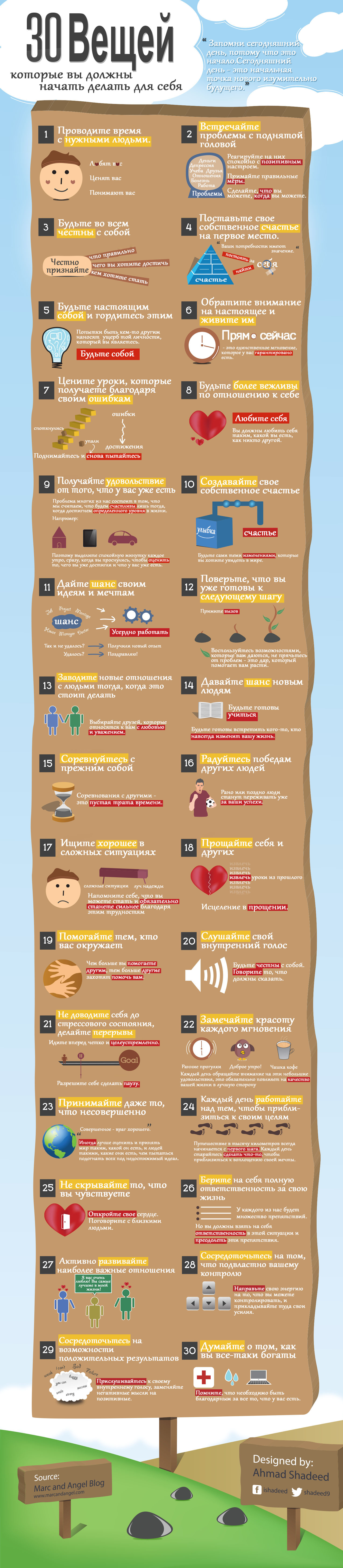 06111757 30 Things to Start Doing For Yourself Infographic 30 шагов к правильной жизни
