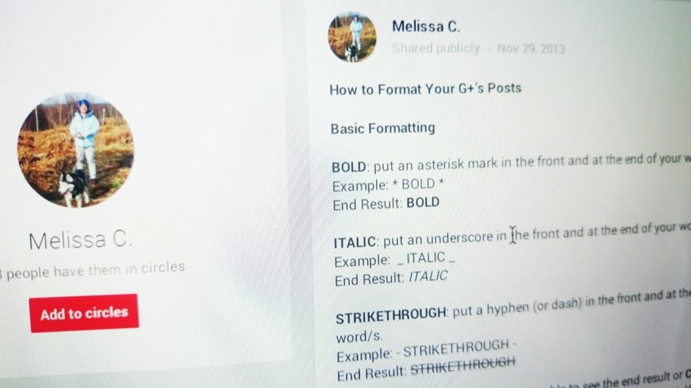 Как форматировать текст в постах на Google+