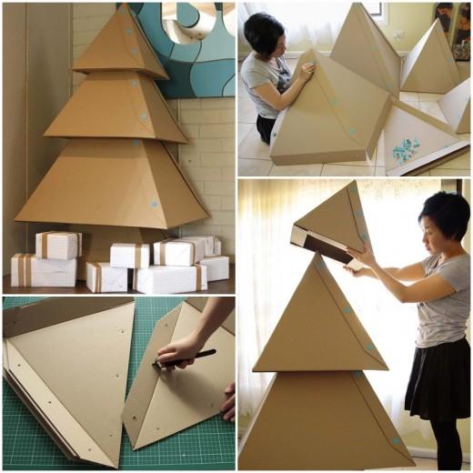 Как сделать большую елку из картона своими руками 140
