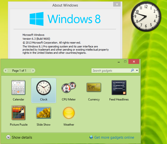 гаджет для windows 8.1