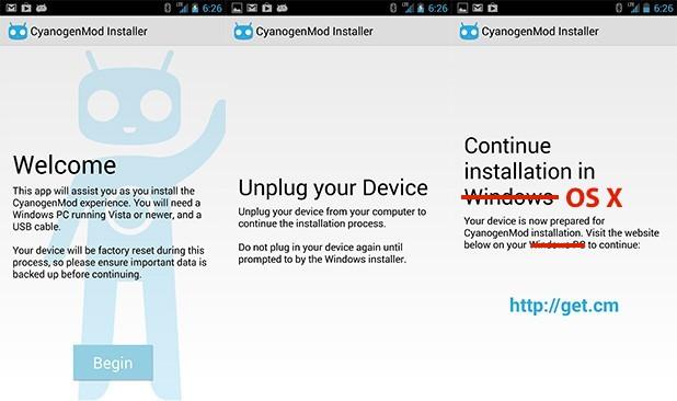 Вышла бета-версия установщика CyanogenMod для Mac