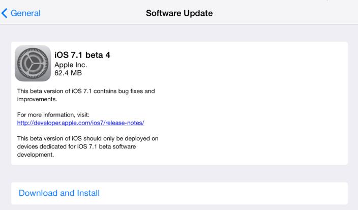 Вышла iOS 7.1 beta 4