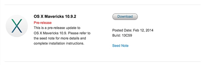 OS X 10.9.2 beta 6 доступна для загрузки