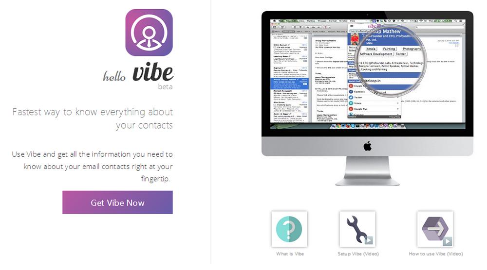 Vibe для Chrome: быстрые сведения о контакте по его почтовому адресу