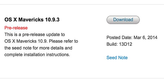 Apple приступила к раздаче 10.9.3 beta