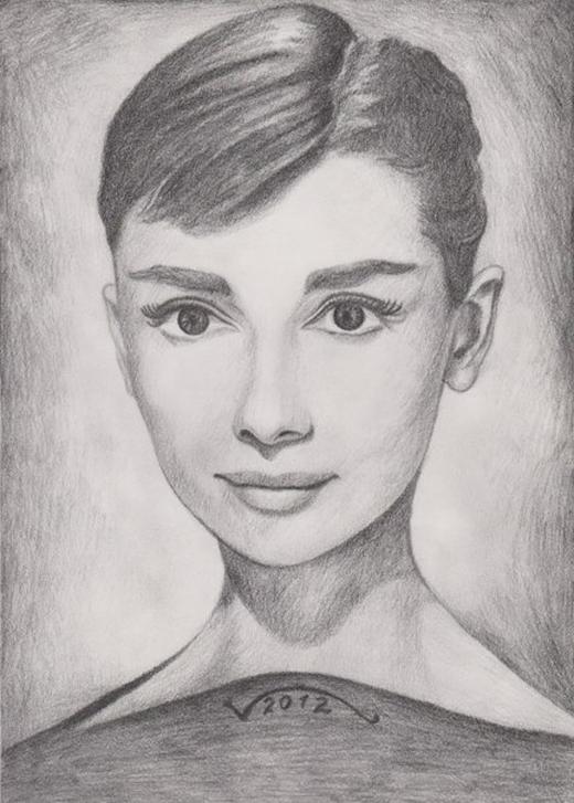 Портрет Одри Хепберн, работа Врежа