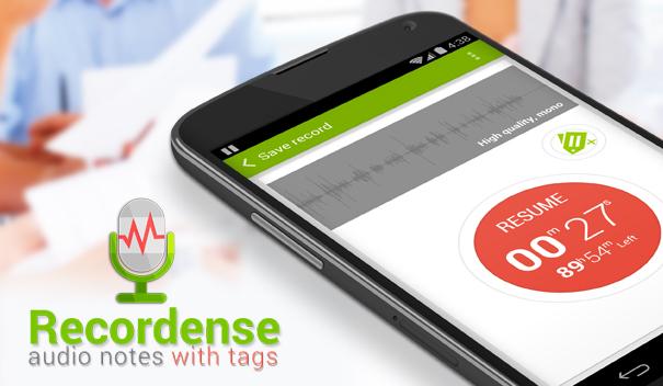 Recordense для Android: стильный диктофон с метками