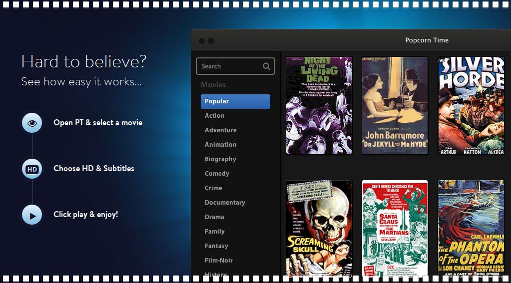 Popcorn Time — самый удобный способ пиратского кинопросмотра