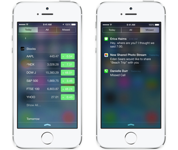 iOS 8 notification center