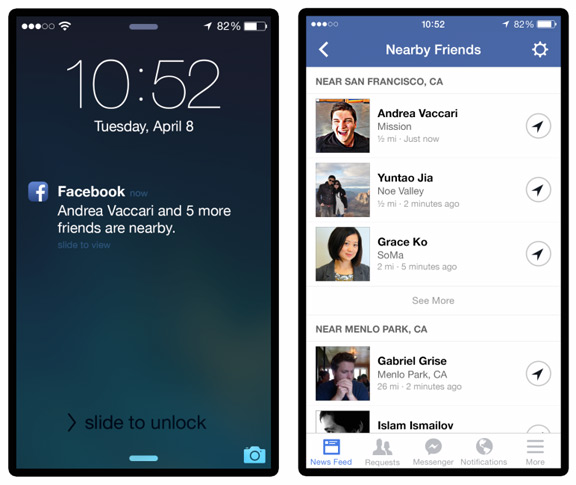 Facebook для iOS научится показывать ваших друзей поблизости