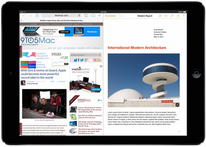 iPad научат работать в двух приложениях одновременно уже в iOS 8