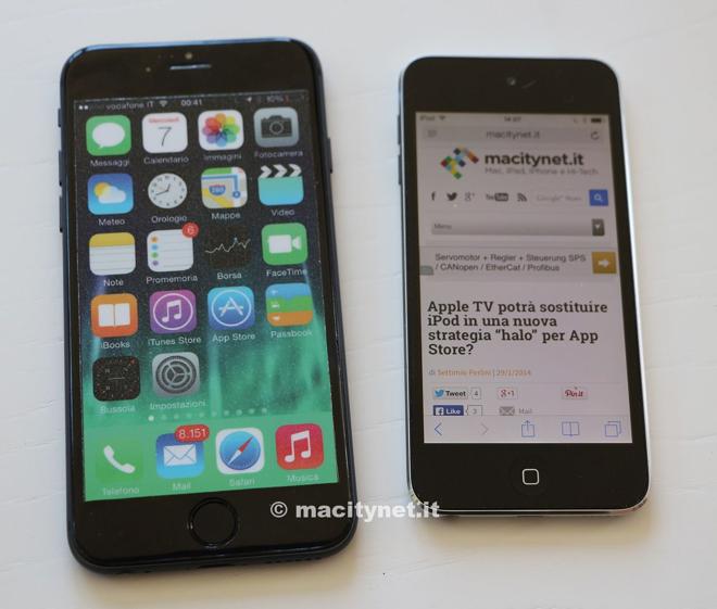 Сравнение макета iPhone 6 с iPod Touch последнего поколения (фото)