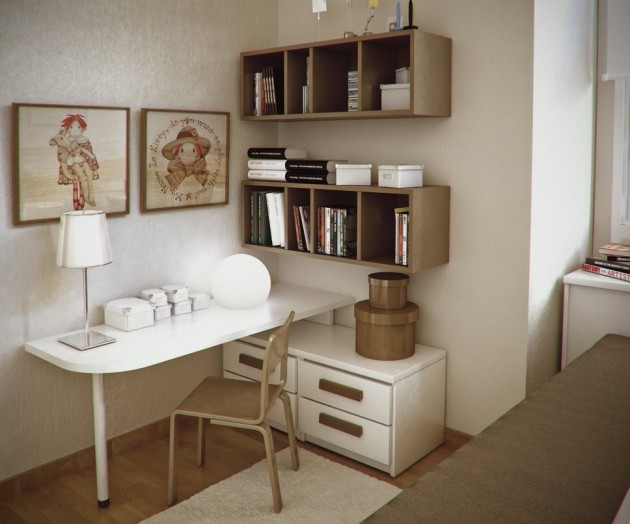 simple-beige-workspace-design-ideas-with-brown-shelves-unit-white-filing-cabinet-office-chair-and-area-rug-630x524