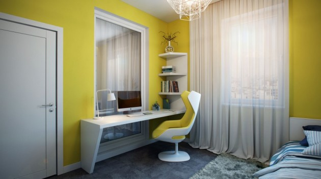 Stylish-Yellow-Painted-Apartment-in-Germany-Bedroom-Furnished-with-Compact-Workspace-Corner-Shelves-and-Swivel-Chair-906x509