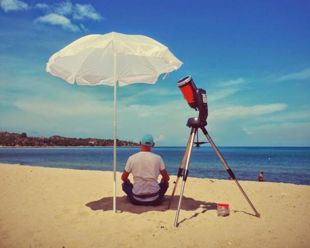 Телескоп на пляже_