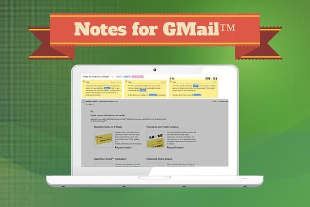 Notes for GMail позволяет прикреплять к письмам заметки и напоминания