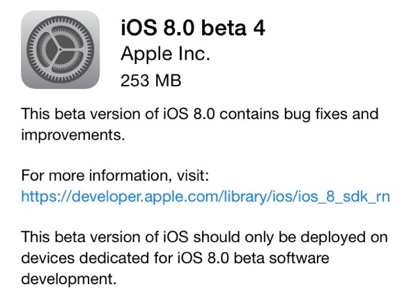 Apple выпустила iOS 8 beta 4 и OS X 10.10 Developer Preview 4