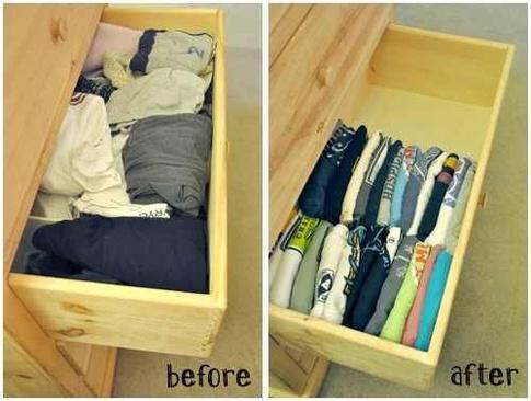 Кладите футболки в шкаф вертикально