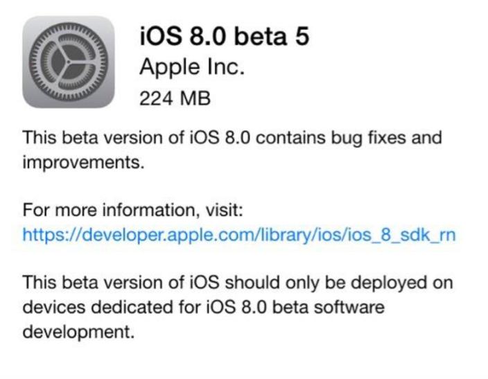 Apple выпустила iOS 8 beta 5 и OS X Yosemite DP 5 для разработчиков