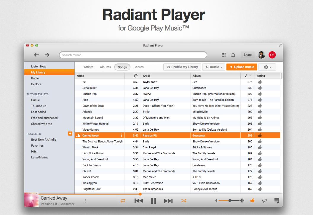Radiant Player для Mac — отличный плеер Google Music