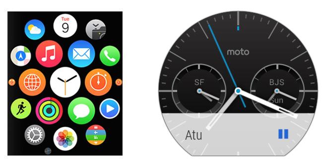 Сравнение интерфейса Apple Watch и Moto 360