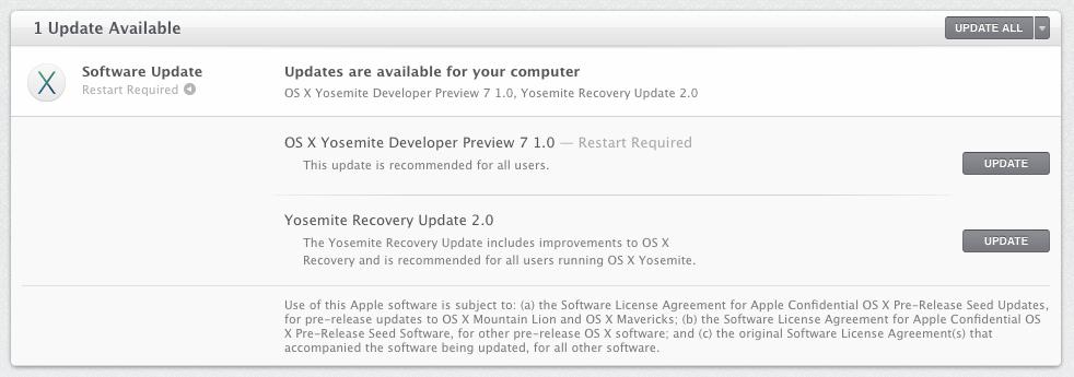 Apple выпустила OS X Yosemite Developer Preview 7