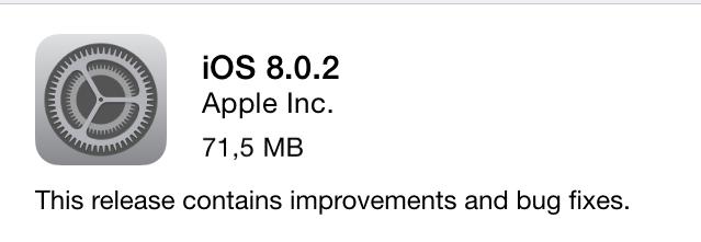 Вышла iOS 8.0.2