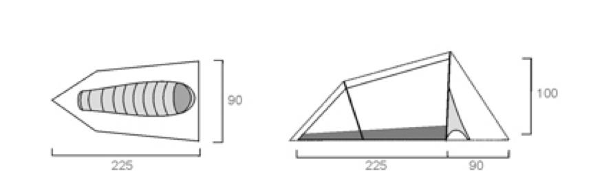 Пример размеров одноместной палатки, см