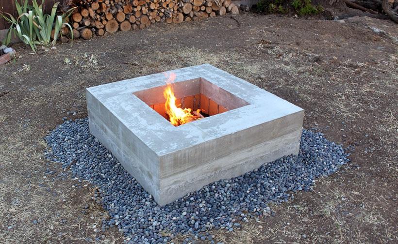 Build A Firepit Out Of Broken Concrete Blocks