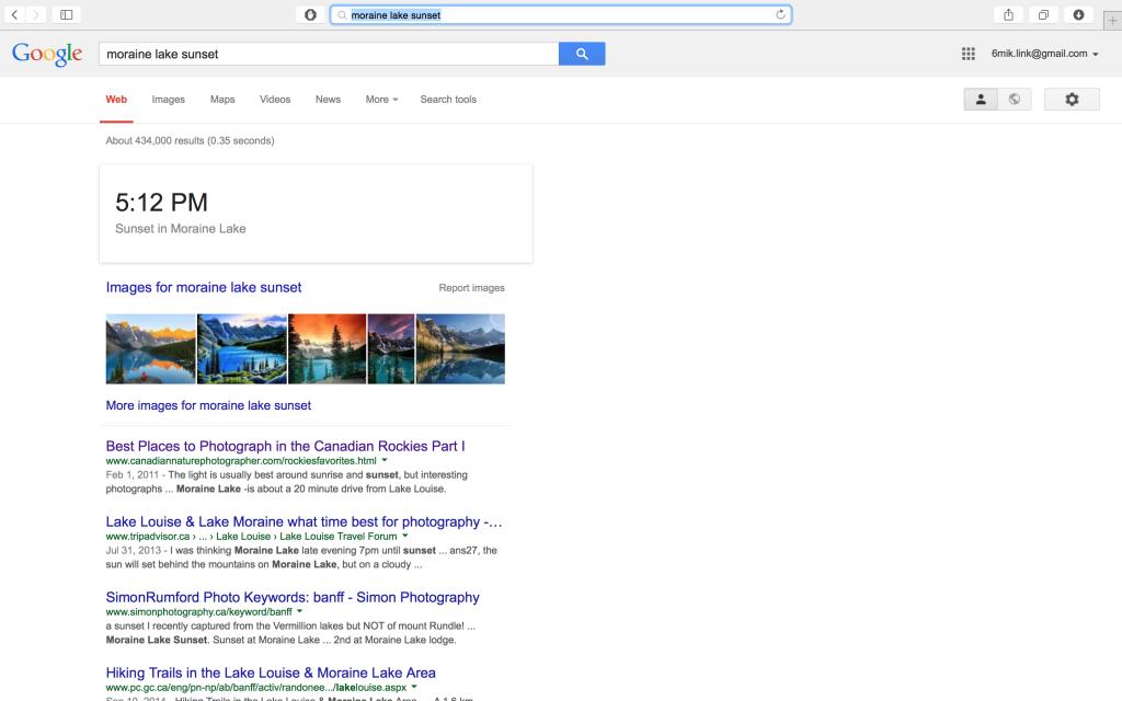 Современная страница выдачи ответа в Google