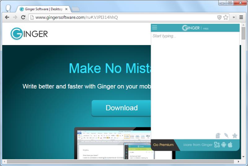 Правописание на английском с Ginger для Chrome
